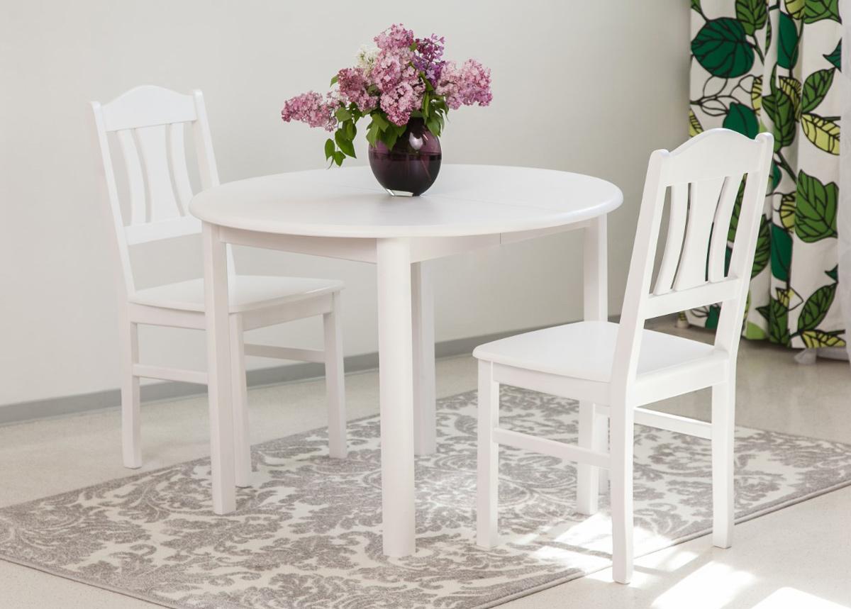 Ruokailuryhmä 100x100-139 cm + tuolit Per 2 kpl, valkoinen