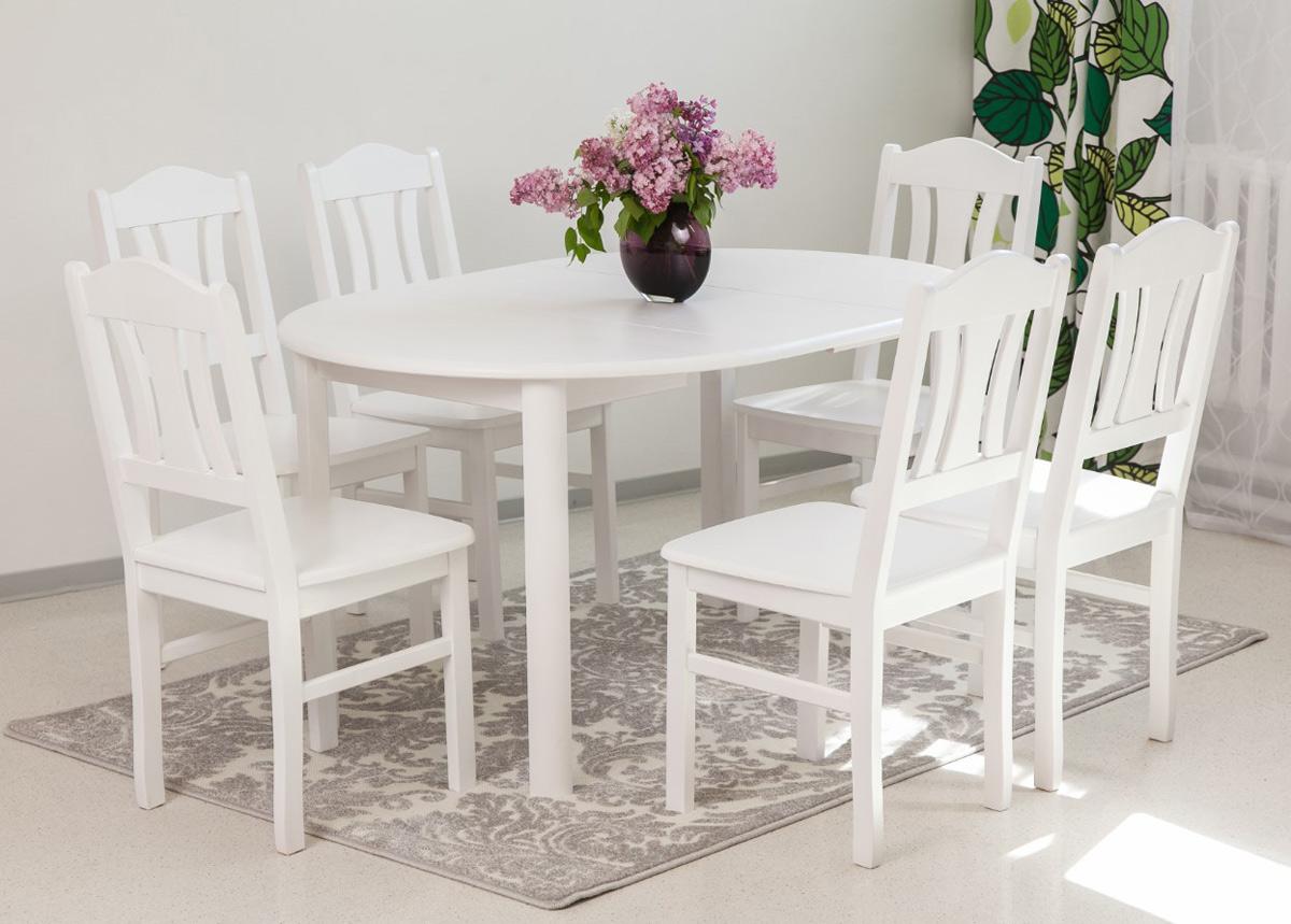 Ruokailuryhmä 100x100-139 cm + tuolit Per 6 kpl, valkoinen