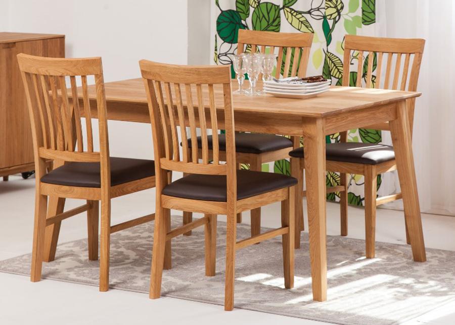 Tammi ruokapöytä Genf 140x90 cm + 4 tuolia Ron