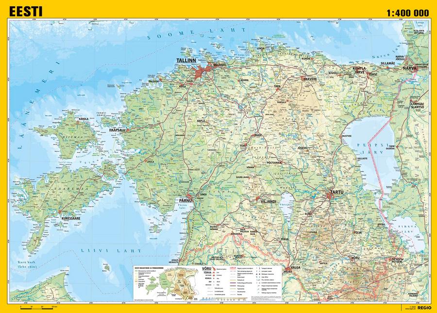 Regio Viron maantieteellinen seinäkartta 99x70 cm