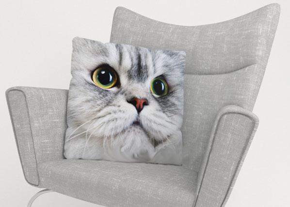 Koristetyynyliina GRAY CAT 40x40 cm