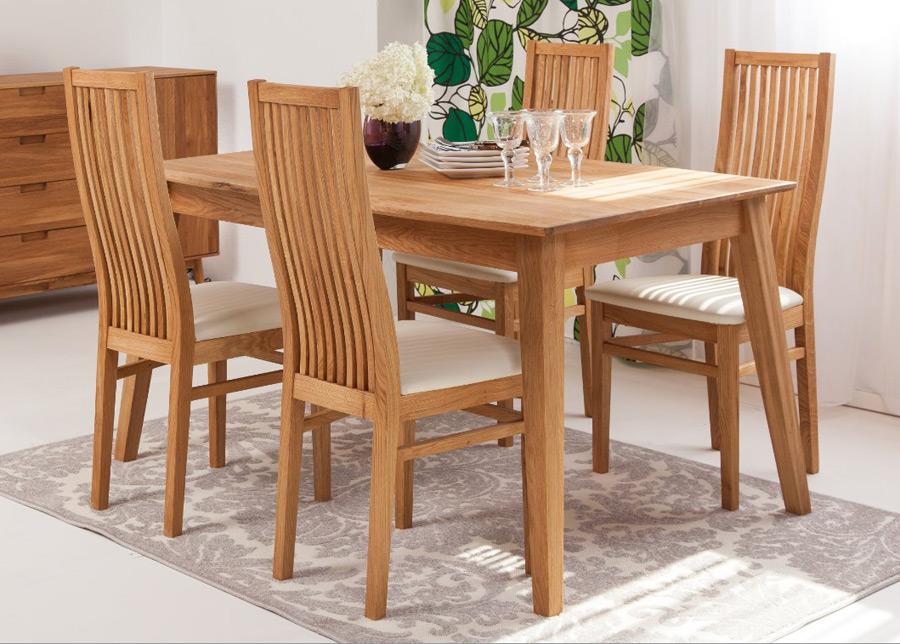 Tammi ruokapöytä GENF 160x90 cm + 4 tuolia SANDRA