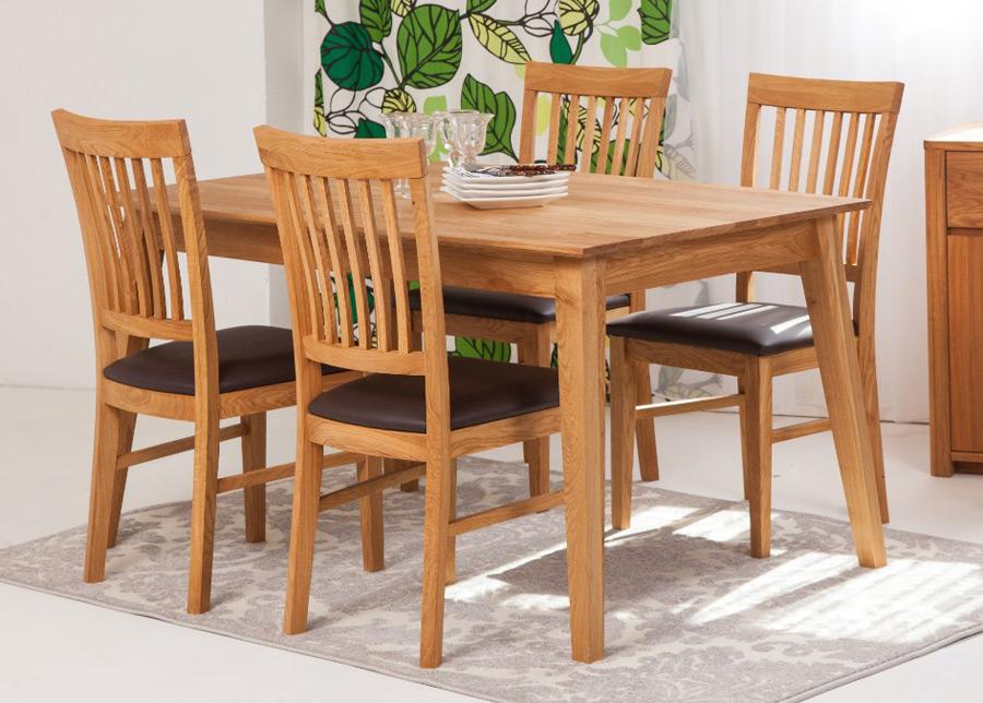 Tammi ruokapöytä Genf 160x90 cm + 4 tuolia Ron