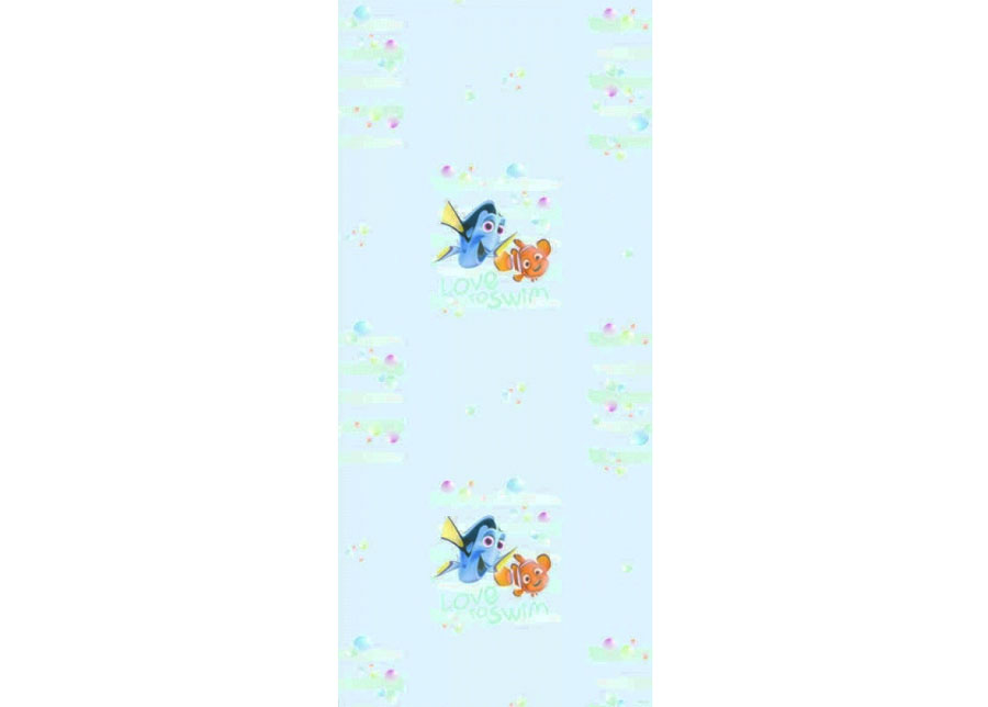 Fleecetapetti DORY AND NEMO LOVE TO SWIM, LIGHT BLUE 53x1000 cm