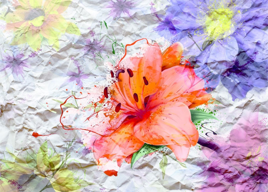 Fleece-kuvatapetti FLOWERS WITH PAPER EFFECT, 360x270 cm