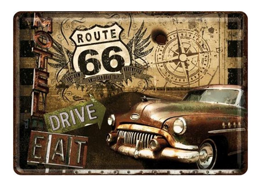 Metallinen postikortti ROUTE 66 Drive&Eat