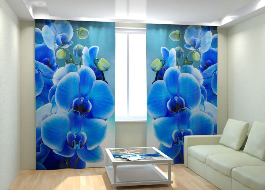Kuvaverhot BLUE ORCHID ON THE WATER 300x260 cm