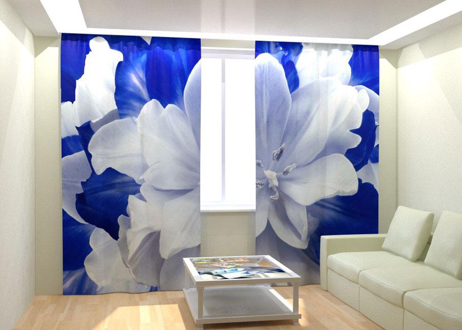 Kuvaverhot BLUE WHITE TULIP 300x260 cm