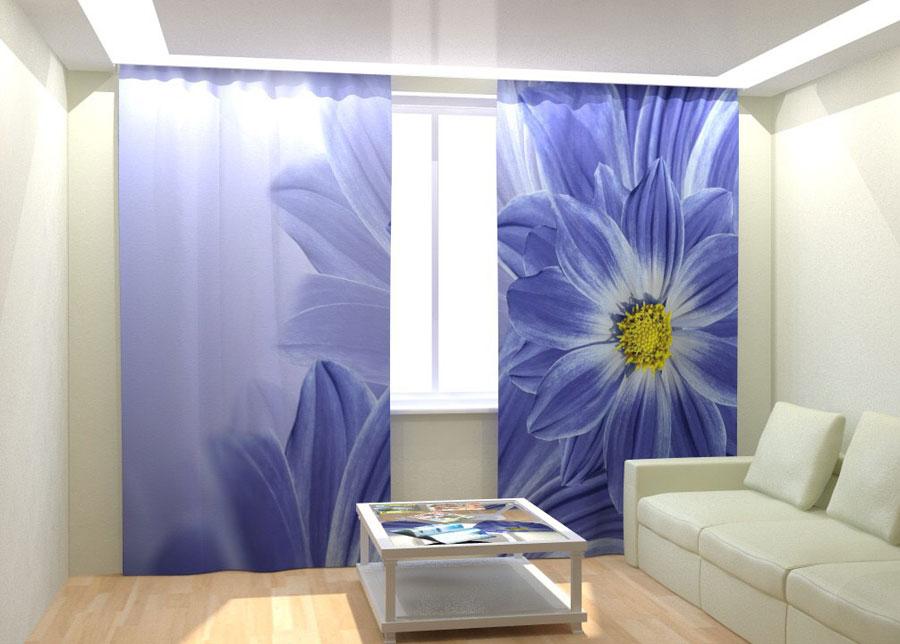 Kuvaverhot BLUE FLOWERS 300x260 cm