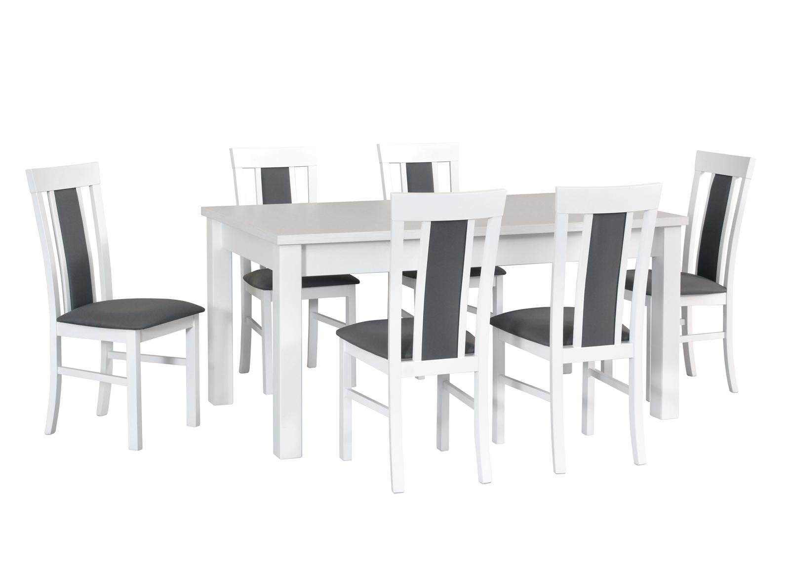 Jatkettava ruokapöytä ja 6 tuolia
