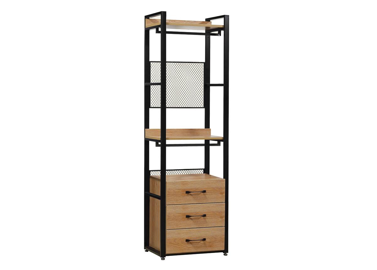 Vaatekaappijärjestelmä (2 hyllyä + 2 tankoa + laatikosto) 60x200 cm