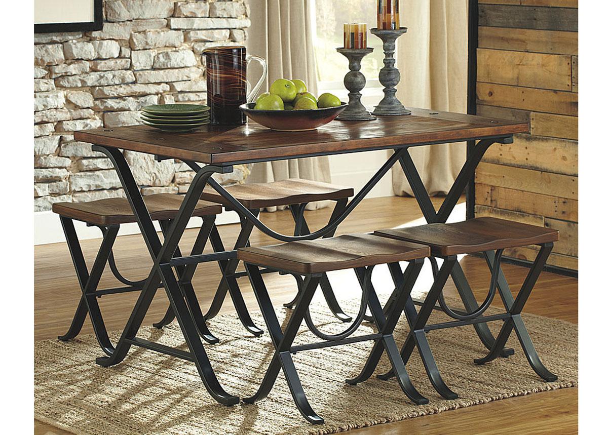 Ruokapöytä 122x76 cm + 4 penkkiä