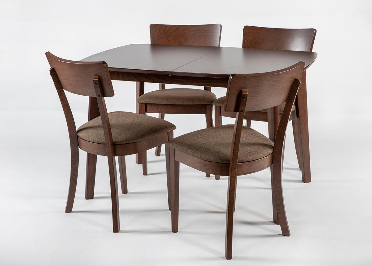 Jatkettava ruokapöytä Bari 80x120-150 cm ja 4 tuolia LUCCA, vaalea wenge
