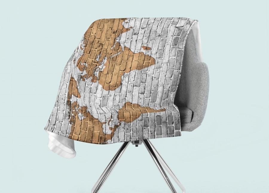 Torkkupeitto Drawn Map on the Wall 130x150 cm