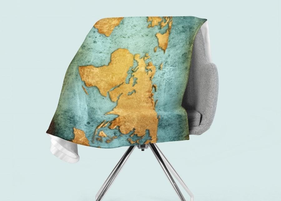 Torkkupeitto Golden World Map 130x150 cm