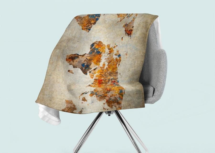 Torkkupeitto Grunge Map of the World 130x150 cm