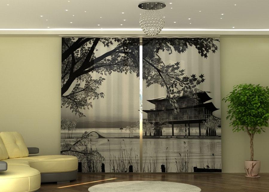 Puolipimentävä verho Chinese Landscape 290x245 cm