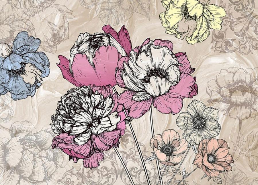 Fleece kuvatapetti Flowers 2 360x270 cm