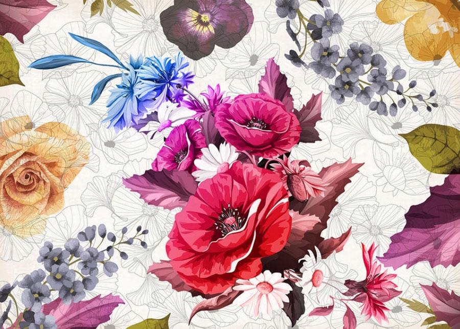 Fleece kuvatapetti Flowers 3 360x270 cm