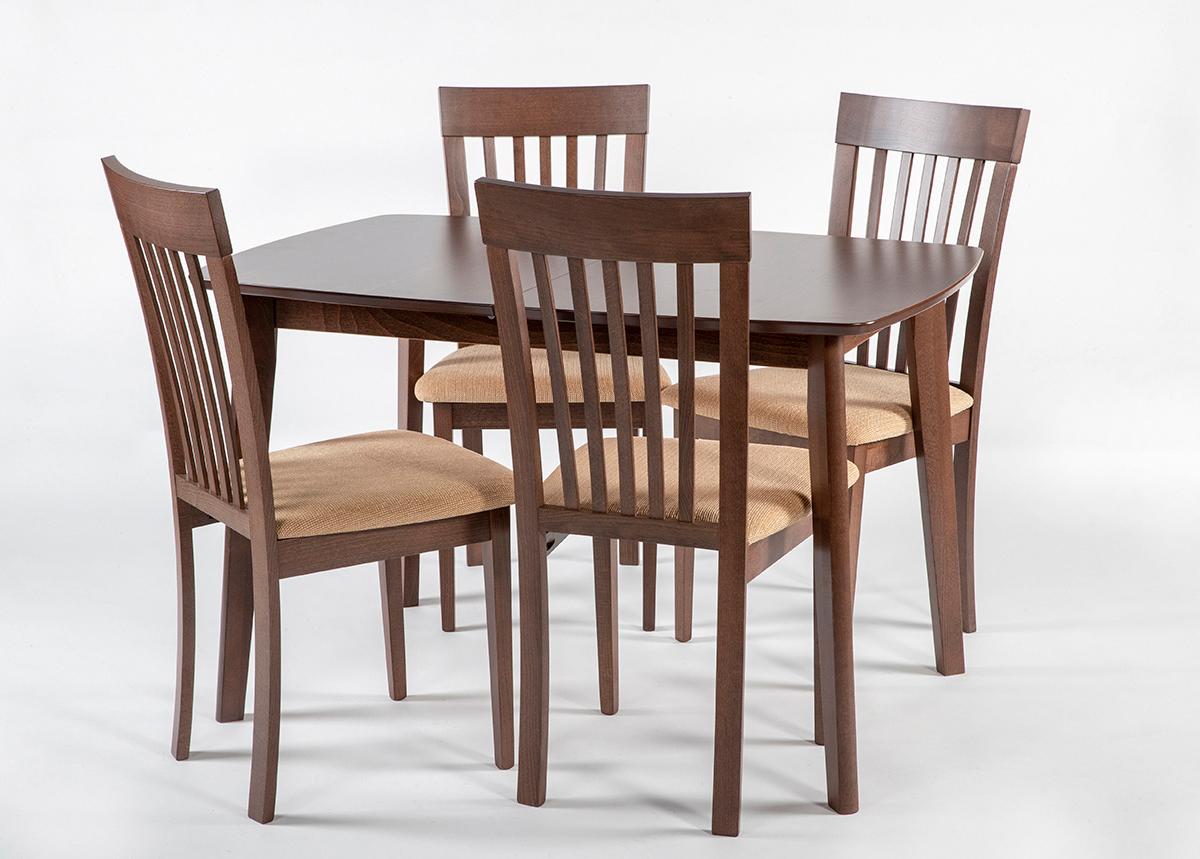 Jatkettava ruokapöytä Bari ja 4 tuolia Modena, vaalea wenge