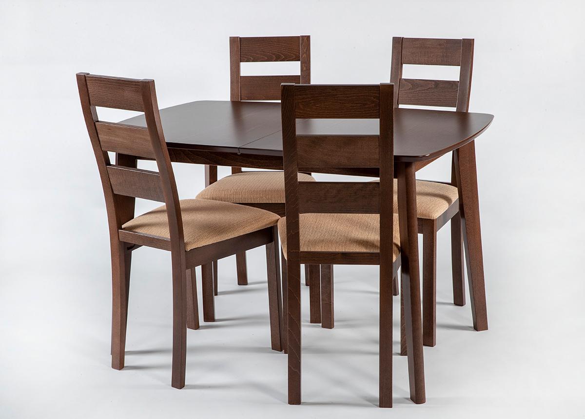 Jatkettava ruokapöytä Bari ja 4 tuolia Parma, vaalea wenge