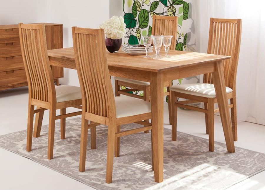 Tammi ruokapöytä Genf 180x90 cm+ 4 tuolia Sandra