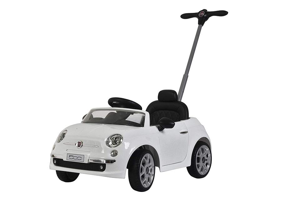 Potkuauto työntösangalla Fiat 500 valkoinen
