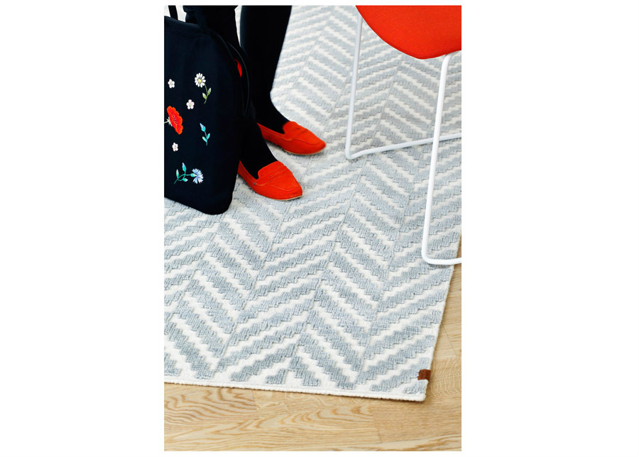 Narma käsinkudottu villamatto Kuusamo white-grey 160x230 cm