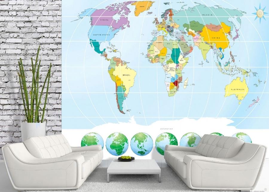 Fleece kuvatapetti World map 3 360x270cm