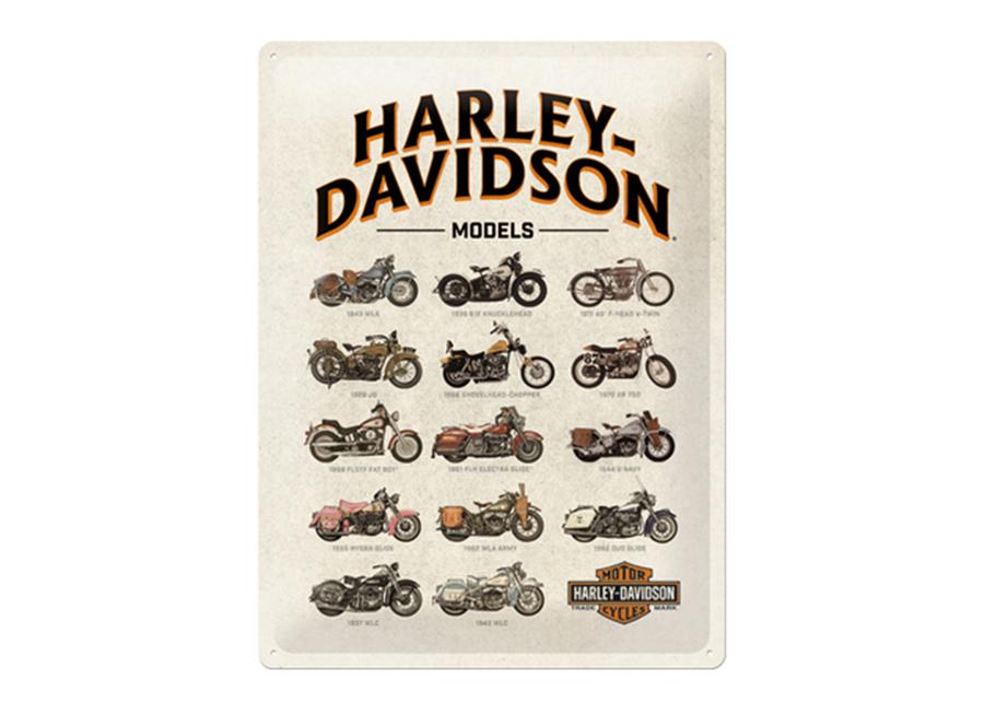 Retro metallijuliste Harley-Davidson Models 30x40 cm