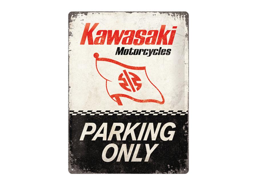 Retro metallijuliste Kawasaki Parking Only 30x40 cm