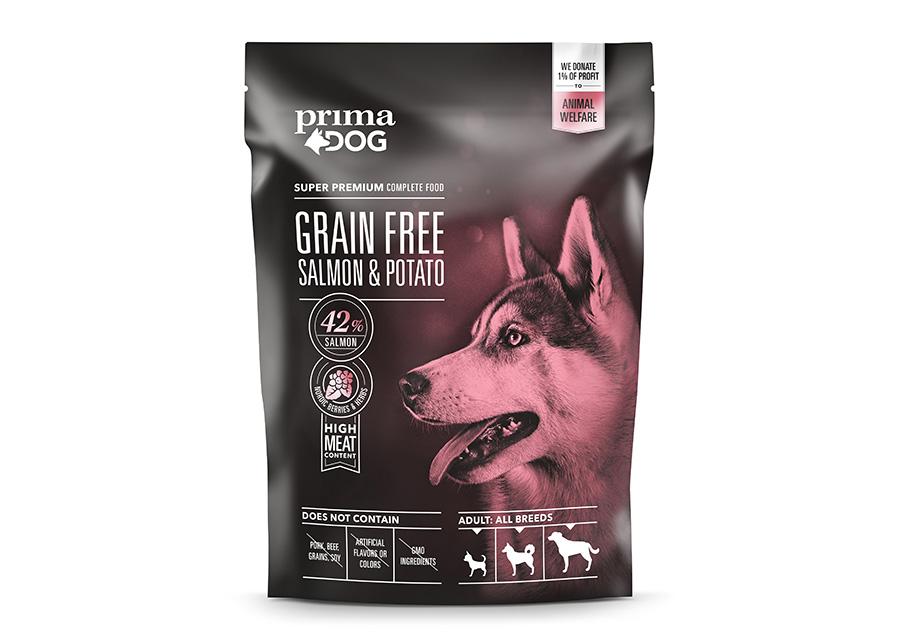 PrimaDog kuivaruoka GrainFree lohi-peruna 1,5 kg
