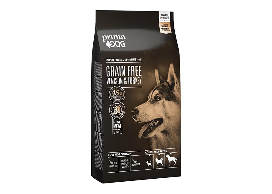 PrimaDog kuivaruoka GrainFree peura-kalkkuna 10 kg