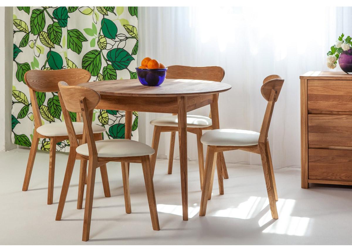 Tammi ruokapöytä Scan Ø85 cm+ 4 tuolia Irma