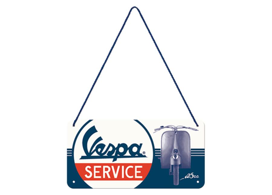 Retro metallijuliste Vespa Service 10x20 cm