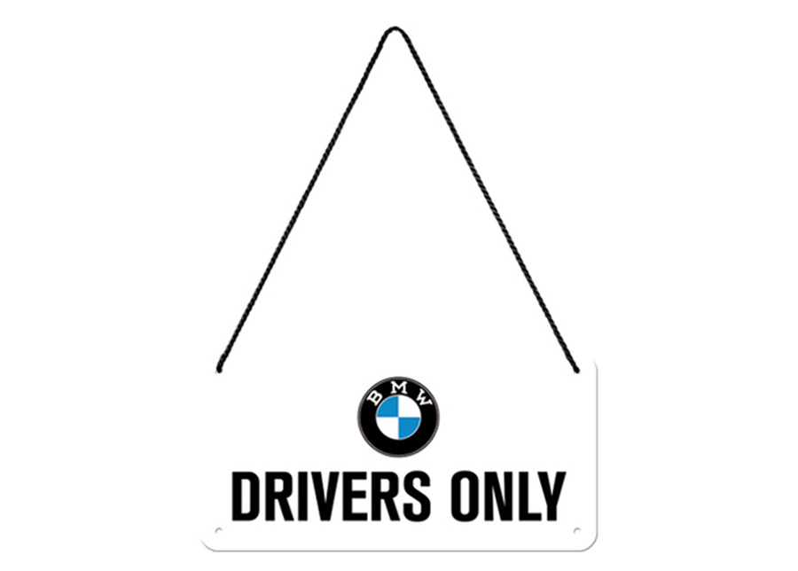 Retro metallijuliste BMW - Drivers Only 10x20 cm