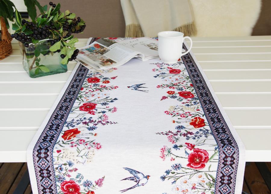 Gobeliinikankainen pöytäliina Chamomille 45x140 cm