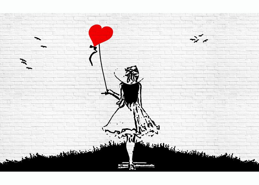 Kuvatapetti lack And White Brick Wall Graffiti Girl With Balloon 312x219 cm