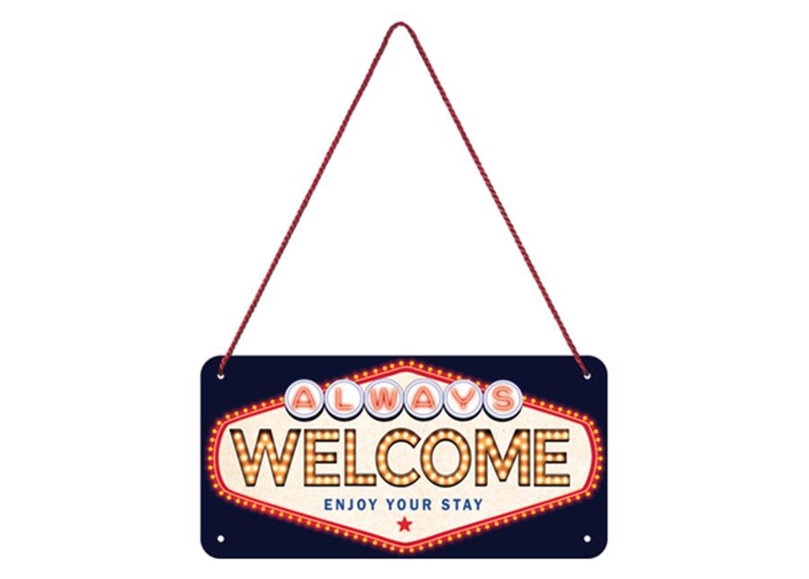 Retro metallijuliste Welcome 10x20 cm