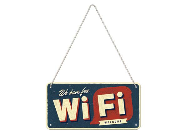 Retro metallijuliste Free Wi-Fi 10x20 cm