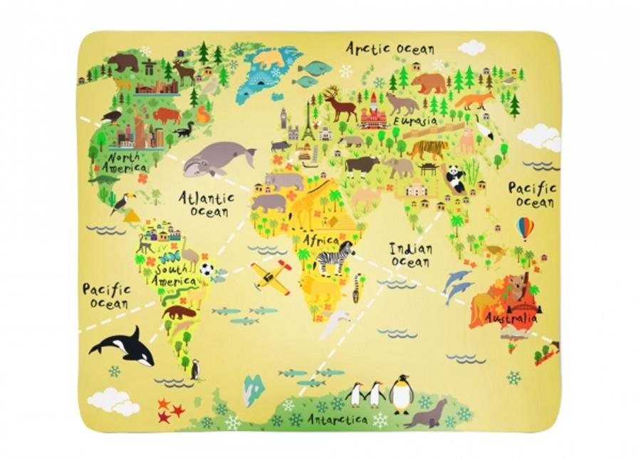 Fleecepeitto Kids Map 130x150 cm