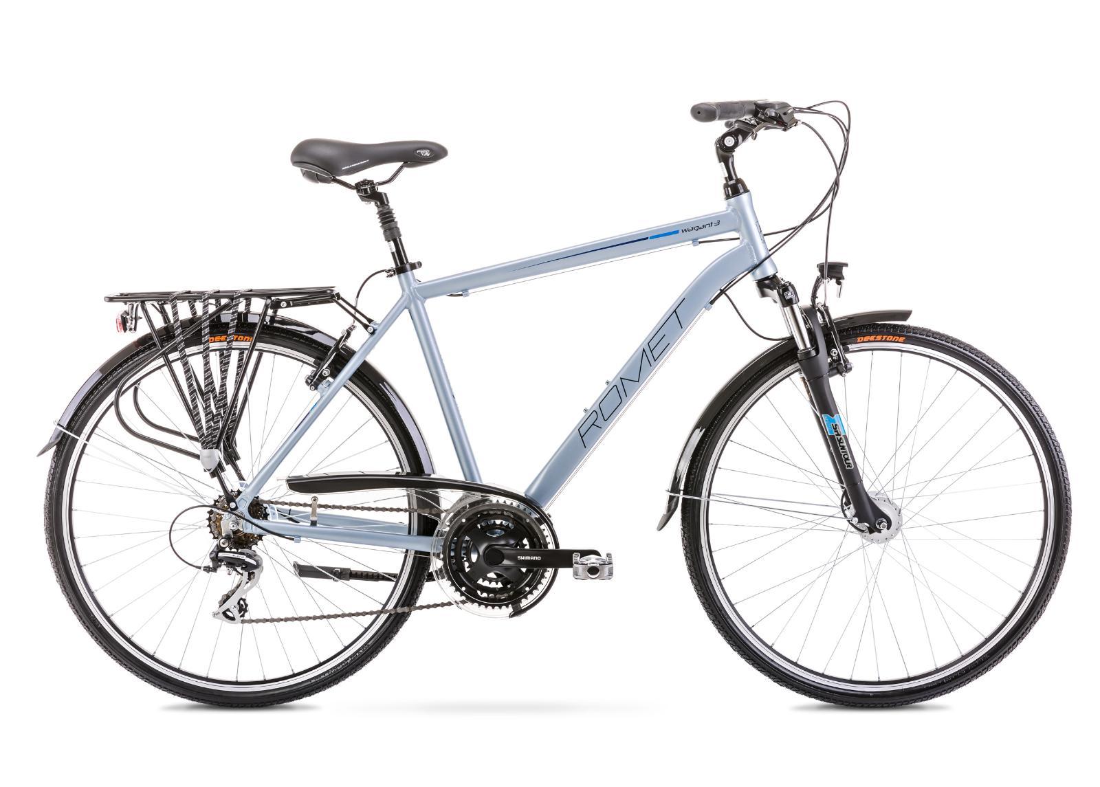 Miesten kaupunkipyörä 19 M WAGANT 3 hopeanvärinen-sininen