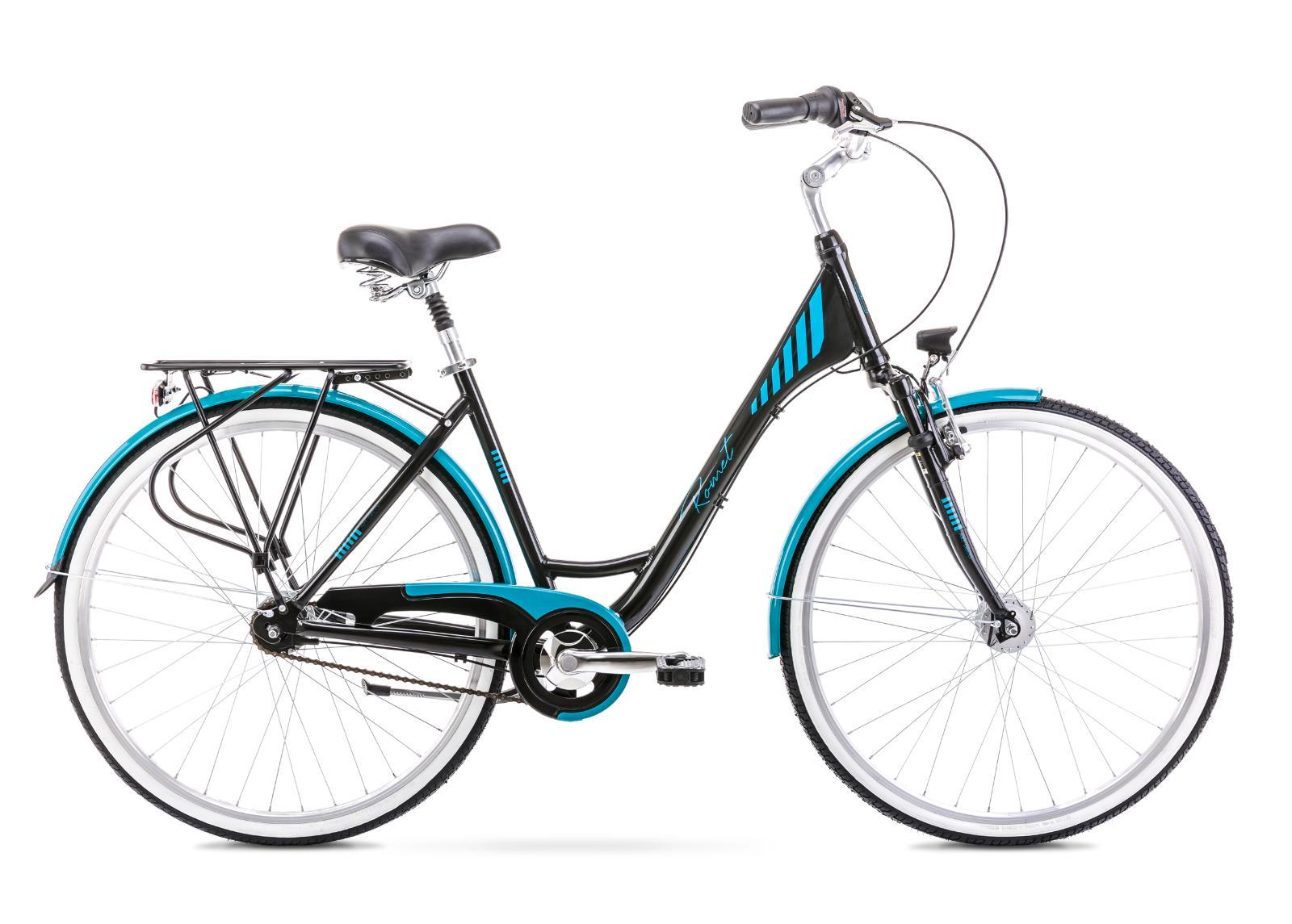 Naisten kaupunkipyörä 17 M ART DECO 7 musta-turkoosi