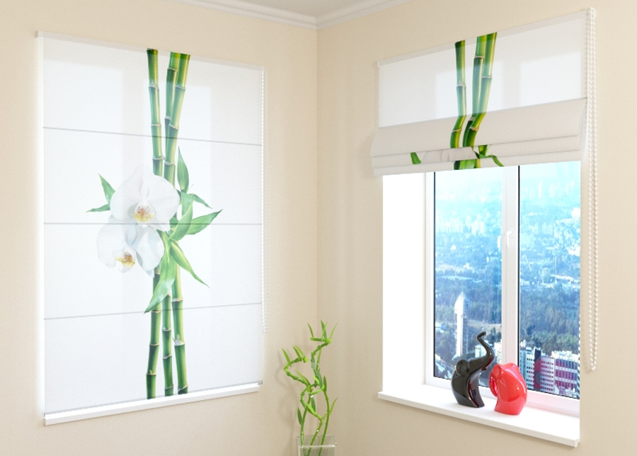 Pimentävä laskosverho Bamboo and white orchid 1, 160x180 cm