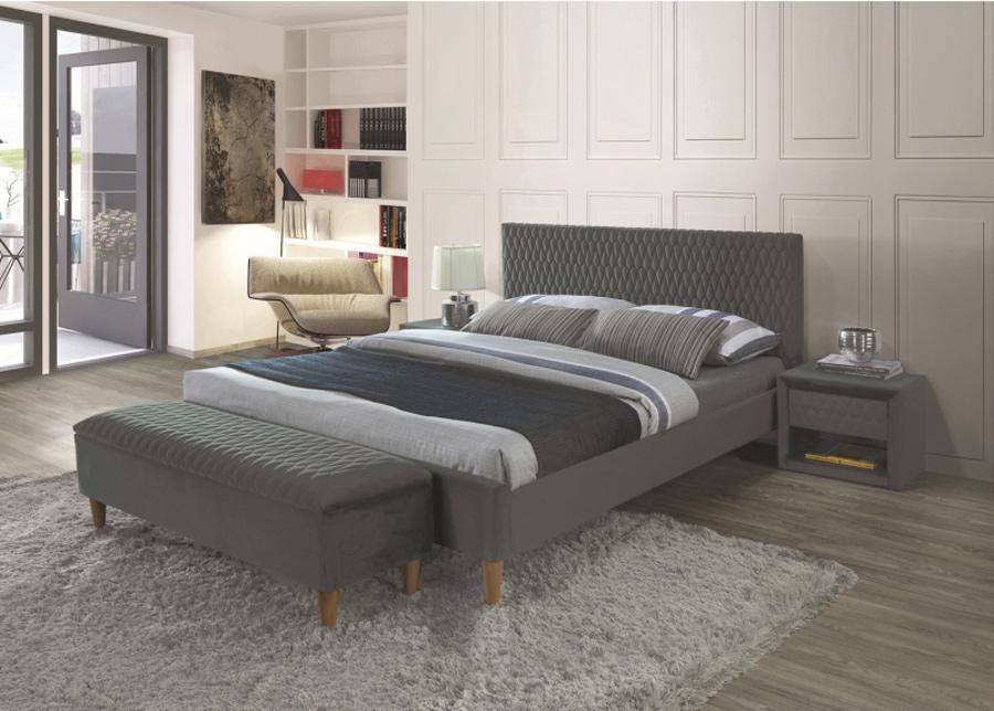Sänky Azurro 160x200 cm harmaa sametti