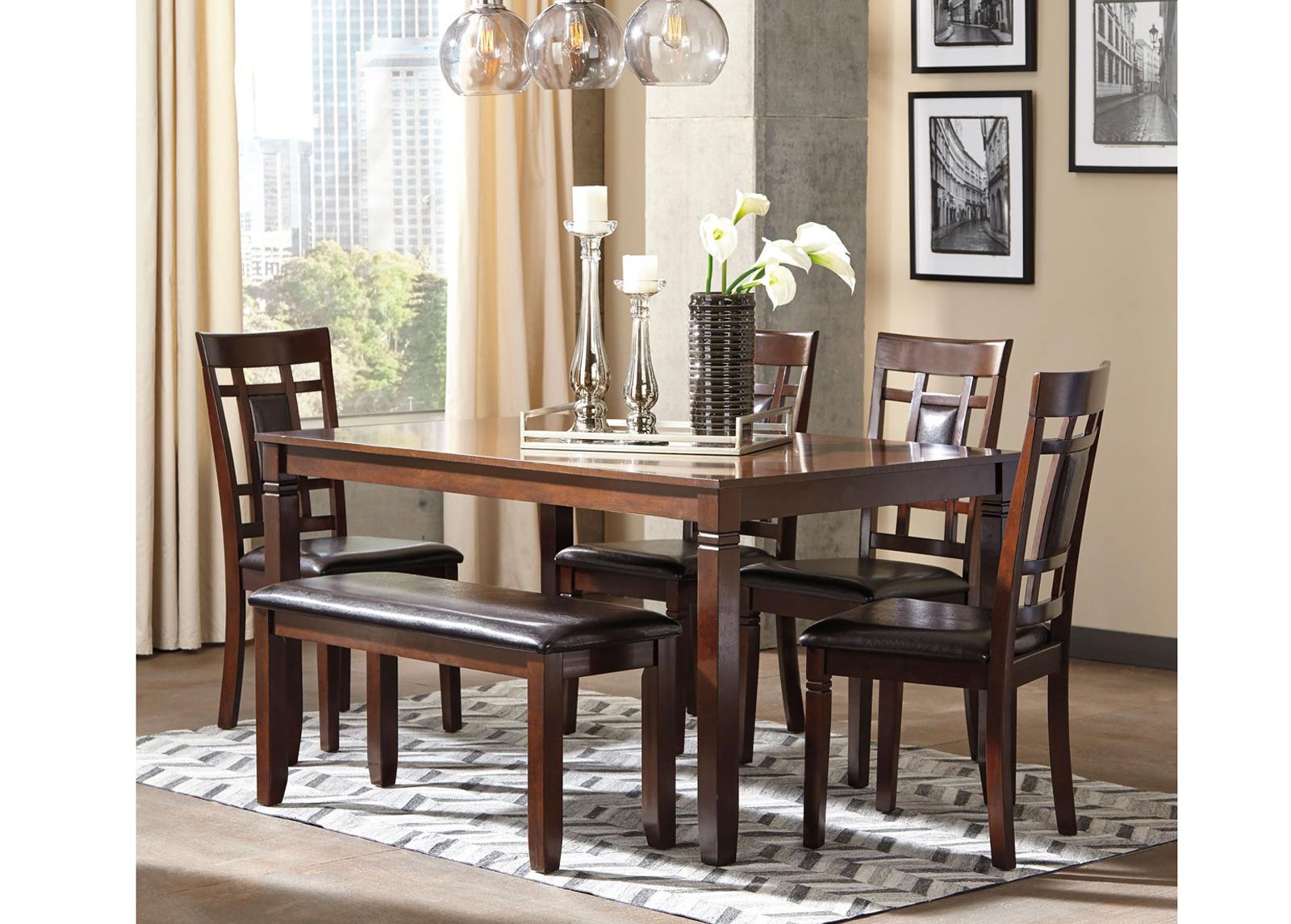Ruokapöytä 152x91 cm + 4 tuolia + penkki