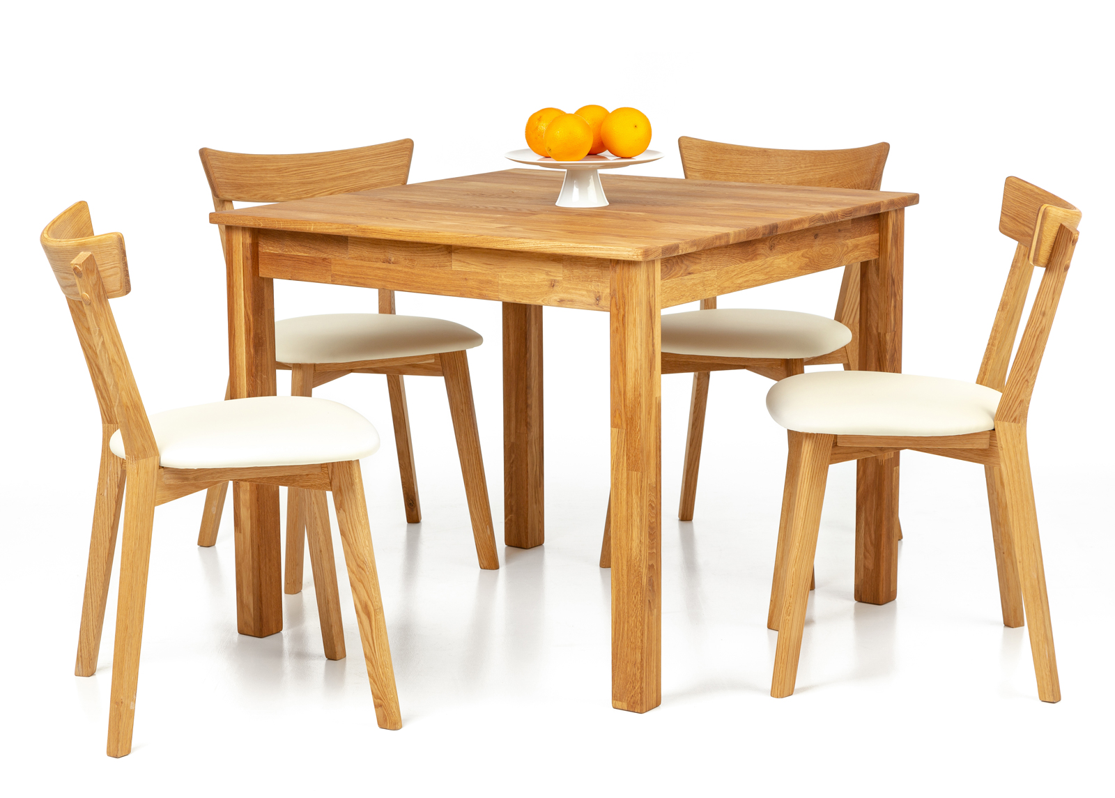 Tammi ruokapöytä Lem 90x90 cm + 2 tuolia Viola beige