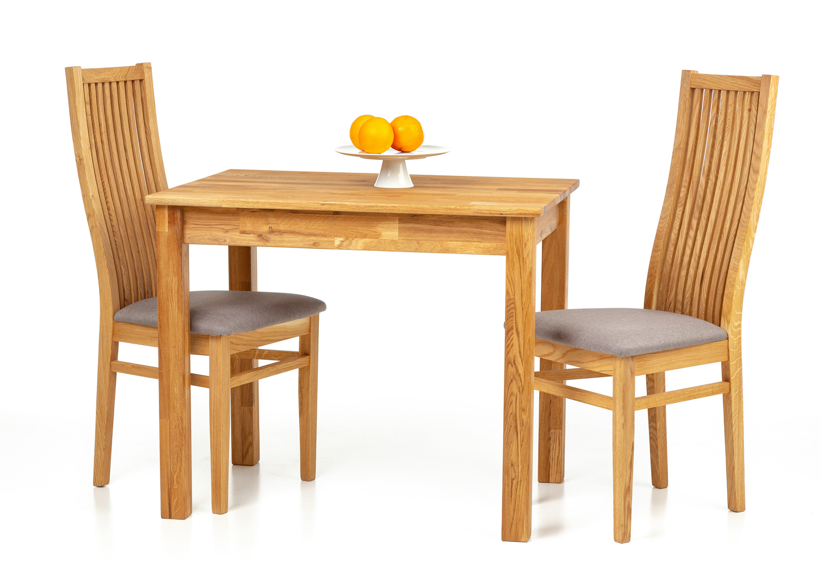 Tammi ruokapöytä Len21 90x65 cm + 2 tuolia Sandra harmaa