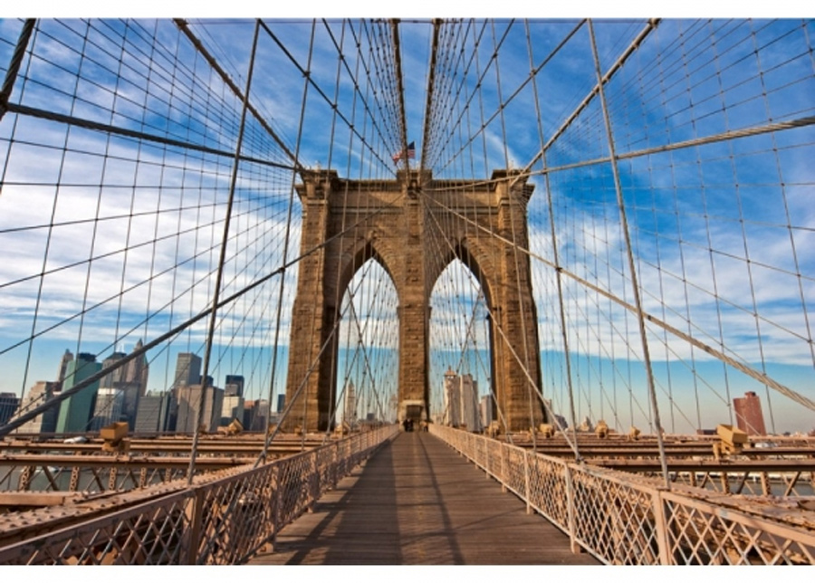 Fleece-kuvatapetti Brooklyn bridge 150x250 cm