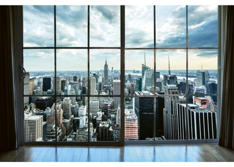 Fleece-kuvatapetti Manhattan window view 375x250 cm